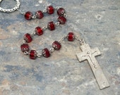 Irish Penal Chaplet of Ruby Siam Red Czech Glass Cathedral Beads, Irish Penal Rosary, Tenner Chaplet