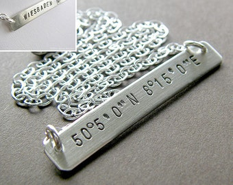 Custom Latitude Longitude Necklace - Personalized Sterling Silver Hand Stamped Jewelry (Choose Single-Side or Double-Side Stamping)