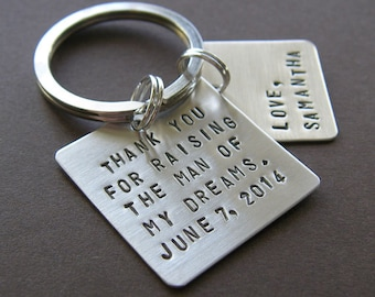 """Custom Keychain - Personalized Hand Stamped Sterling Silver - 1"""" and 3/4"""" Square - Perfect Father or Mother of the Groom Gift"""