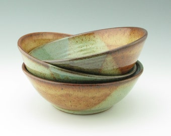 Handmade Pottery Bowl Singles - Woodland Chic 8-1/2 inch Pasta Serving Bowl - Decorative Honey Brown & Sage Green Fruit Bowl - New Home Gift