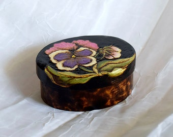 Small Oval Pansy Pyrographed wood box