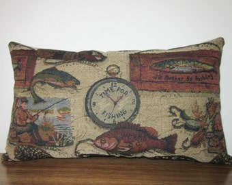 Lumbar Pillow Fish Fishing Fishermen Cabin Lodge Decor Woodlands Tapestry