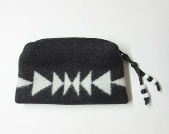 Wool Zippered Pouch Coin Purse Change Purse Accessory Organizer Black White Arrows Tribal