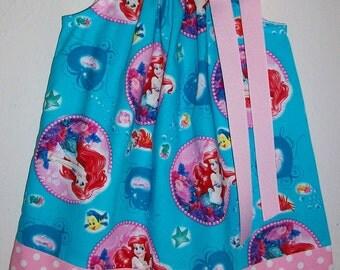 Little Mermaid Dress Pillowcase Dress with Ariel Dress Girls Dress Under the Sea Ocean Pink and Aqua Beach Party baby dress toddler dress