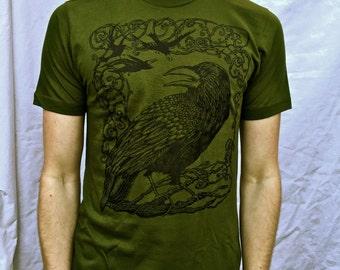 Green Raven Tshirt Crow Bird Poe Celtic Cotton Made in USA Tshirt S M L XL 2X