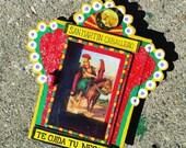 Mexican Saint Martin de Cabellero Nicho, Patron Saint of business Tin Nicho, Diorama, Wall art