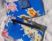 Oil Cloth Blue Floral Billfold Wallet, Women's Floral Vinyl Checkbook Clutch Wallet