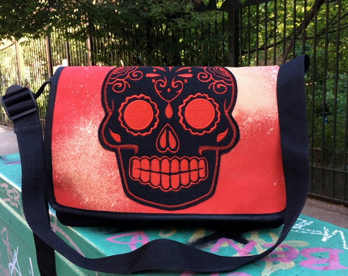 Featured listing image: Red and Black Bleach Dyed Canvas Sugar Skull Courier Bag, Day of the Dead Messenger Bag
