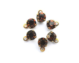 13 Vintage Swarovski dangling beads,crystals mounted in brass setting, 6mm, self loop