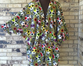 Plus Size Roomy Sugar Skull Fleece Jacket/Shrug