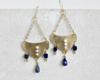 Statement moroccan earrings, brass & lapis lazuli gemstones, chandelier
