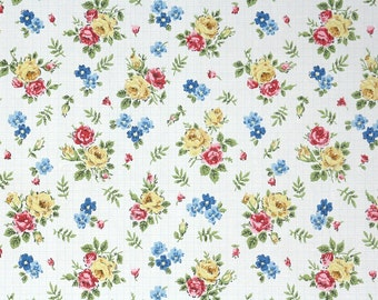 1960s Vintage Wallpaper by the Yard - Red Yellow and Blue Floral Mid Century Vintage Wallpaper