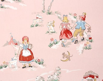 1940s Vintage Wallpaper by the Yard - Childrens Wallpaper Boy and Girl with White Daisy Stripe