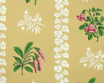 1950s Vintage Wallpaper by the Yard - Floral Wallpaper with Pink and Green Flowers on Yellow with White Leaf Stripe