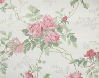 1960s Vintage Wallpaper Pink Cabbage Roses