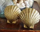 Pair Brass Seashell Bookends Shell Bookends Hollywood Regency