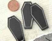 BLACK COFFINS -  3 Jet Black Laser Cut Acrylic Charms