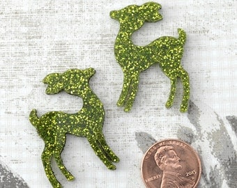 GREEN GLITTER DEER - Set of 2 Cabochons in Laser Cut Acrylic