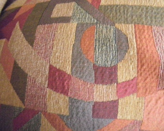 2 Yds Heavy Upholstery Fabric Geometric Abstract Print Earth tones