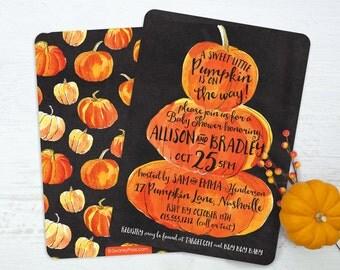 Pumpkin Baby Shower Invitation - Little Pumpkin Baby Shower invitation - Watercolor Pumpkin Baby Shower - Fall Baby Shower Invitation