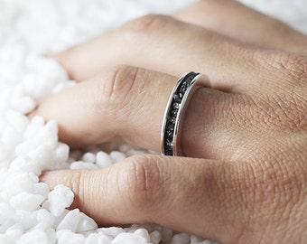 Black Diamond Ring Sterling Silver Raw Uncut Wedding Band Personalized Jewelry