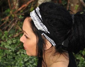 Interstellar Weave Headband, Black and White Dreadband, Hippie Hair Wrap Intergalactic Apparel