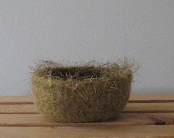 "Felted ""Bird Nest"" Bowl in Dijon Mustard - In Stock - Ready to Ship"