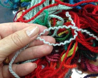 Virgin Wool Rya Rug Yarn Scraps 1970s-2016.  6 Ounces of Swedish, Norwegian, Lundgren for fiber-projects, dry-felting, for creativity