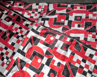 Vintage MOD 60s VERA Red White and Black Geometric Graphic Silk Scarf