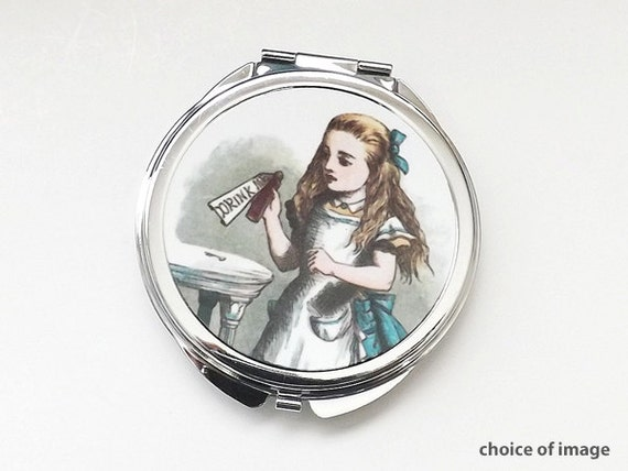 Alice pocket COMPACT MIRROR party favor stocking stuffer accessories gift for her drink me mad hatter chesire cat hostess