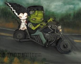 Frankenstein Print Tattooed Bride Of Frankenstein Harley Biker Skeleton Night Art Cute Tattooed Couple LARGE PRINT 14 x 11