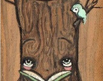 "Tree Original Painting Canvas on Wood Cute Critter Tea Art 2.5"" x 6"""