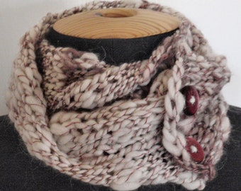 Knit Cowl- Handspun Wool- White and Maroon