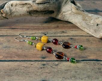Celebrating Autumn extra long beaded earrings