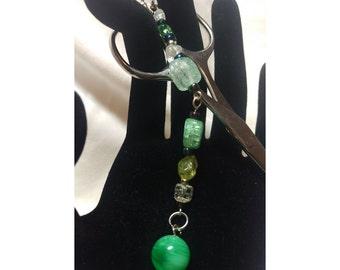 Scissor Fob/Charm - Green Ball