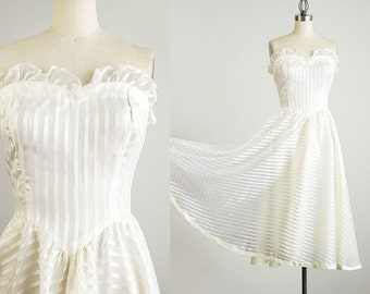 80s Vintage Striped Chiffon Ruffle Strapless Dress / Size Extra Small / Small