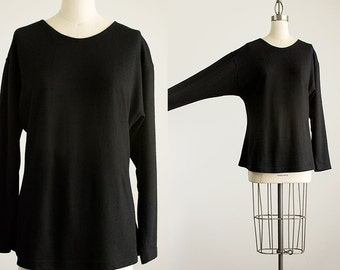 90s Vintage Wool Black Batwing Sleeve Wool Tunic Sweater Top / Size Small