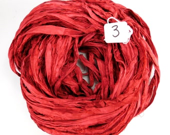 Sari Silk Ribbon, Recycled Silk Sari Ribbon, red Ribbon, red sari ribbon, red silk ribbon