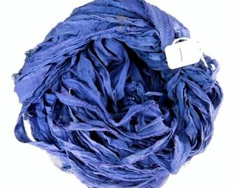 Sari silk ribbon, Silk Chiffon sari ribbon, Recycled Silk Sari Ribbon, Denim Blue ribbon, navy chiffon ribbon, dark blue ribbon