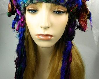 Crocheted Silk Sari Ribbon Hat, Crocheted Sari ribbon Hat, Silk Sari Ribbon Hat, Ribbon hat, crocheted hat