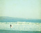 "Ocean print - surfer art - pale aqua blue mint decor - vintage style - ocean photography - seafoam - retro california beach ""Sunday Surf"""
