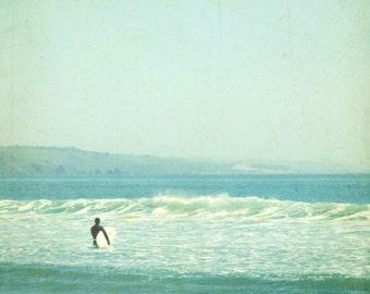"Beach ocean photography print, surfer art pale aqua blue mint seafoam retro vintage style california wall art ""Sunday Surf"""