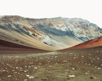 Rustic Mountian Landscape - Volcano Photograph - Maui Hawaii - Gray Brown Rust Sienna - Earth Tones Wall Art   'Haleakala'