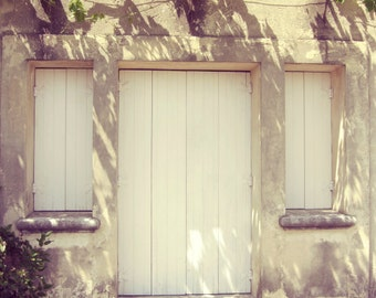 France Travel Photography Neutral French Country Decor Provence France Wooden Shutters  - Provence Morning