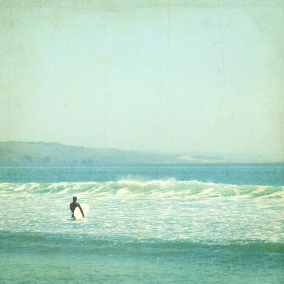 "Ocean print surfer art pale aqua blue mint seafoam retro vintage style california beach photography ""Sunday Surf"""