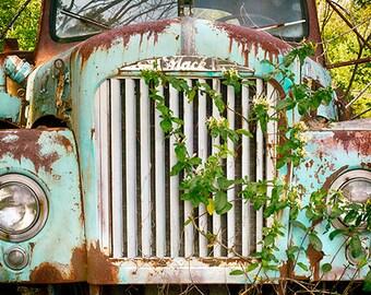 Antique Mack Pickup, Truck Photography, Vintage Auto, Masculine Art, Automotive Art Photo, Rural, Rustic Decor - Old Trucks & Honeysuckle