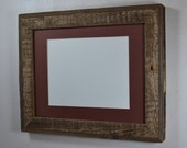 11x14 reclaimed wood gallery style photo frame complete with brown mat for 8x10 photos