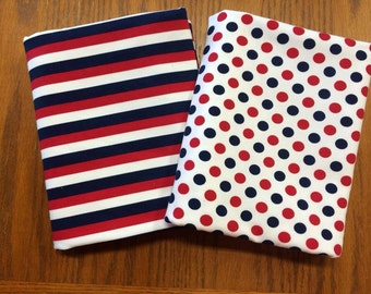 """Premium Red white and blue dots or stripes on cotton lycra 95/5 58"""" wide."""