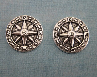 NEW 2 Silver Compass Findings 3817