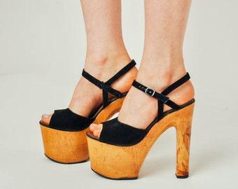 Vintage 1970s Italian Platform Sandals - Europe 38 / US 7.5 / UK 5 / AU 6